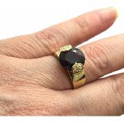 Anel Ouro 18k Pedra Granada Vermelha E 10 Brilhantes Diamantes Naturais k750