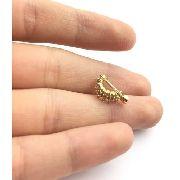 Piercing Cartilagem Duas Argolas 8mm Ouro 18k Pedras Brancas CO121k195