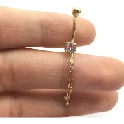 Piercing Ouro 18k Umbigo Pedra Redonda Branca Ponto De Luz Com 2 Corrente Co243K090
