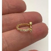 Piercing Conch Orelha Ouro 18k Argola com Pedras Brancas 02K105