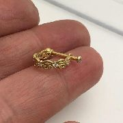 Piercing Infinto Conch Ouro 18k Amarelo Pedra Branca Orelha 04K130