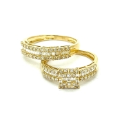 Anel Solitario e Meia Aliança em Ouro 18k Amarelo com Diamante Natural  k11