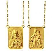 Escapulario Tradicional Medio 1.1cm Dupla Face Ouro 18 Maçico Corrente 60cm FDCER3K430