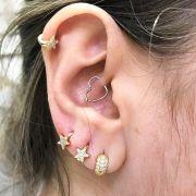 Ouro 18k Piercing 5mm Argola Estrela Cartilagem Tragus Orelha