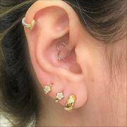 Ouro 18k Piercing 5mm Argola Flor Cartilagem Tragus Orelha