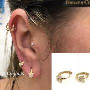 Ouro 18k Piercing Argola Borboleta  Cartilagem Tragus Orelha