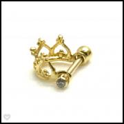 Ouro 18k Piercing Coroa e Ponto de Luz Cartilagem Helix Tragus Orelha CO118k1.5