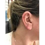 Piercing Argola 6 Pedras Ouro 18k Cartilagem Uma Peça Orelha