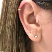 Piercing Argola Tragus Cartilagem Fecho Trava Clip Ouro 18k