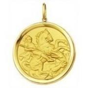 Sao Jorge 5cm Pingente Ouro 18k 750 Medalha 12.30gr Dragao