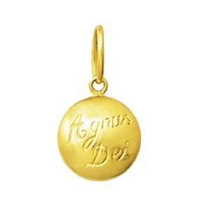 Pingente Ouro 18k Agnus Dei Redondo Medio Medalha k0.7