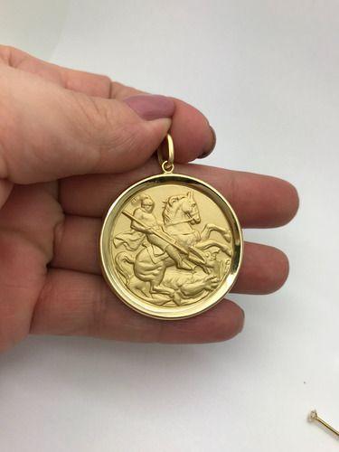 Pingente Grande Sao Jorge Ouro 18k Brilhante E Rubi Natural Medalha FDMR-11-K1230