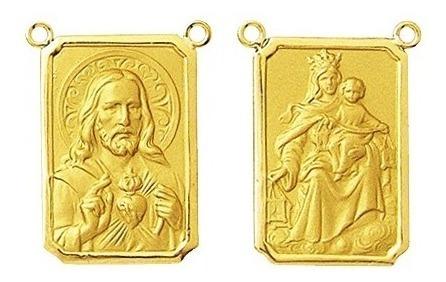 2 Medalhas Para Escapulario 1.2 Cm Ouro 18k Dupla Face 2 Santos