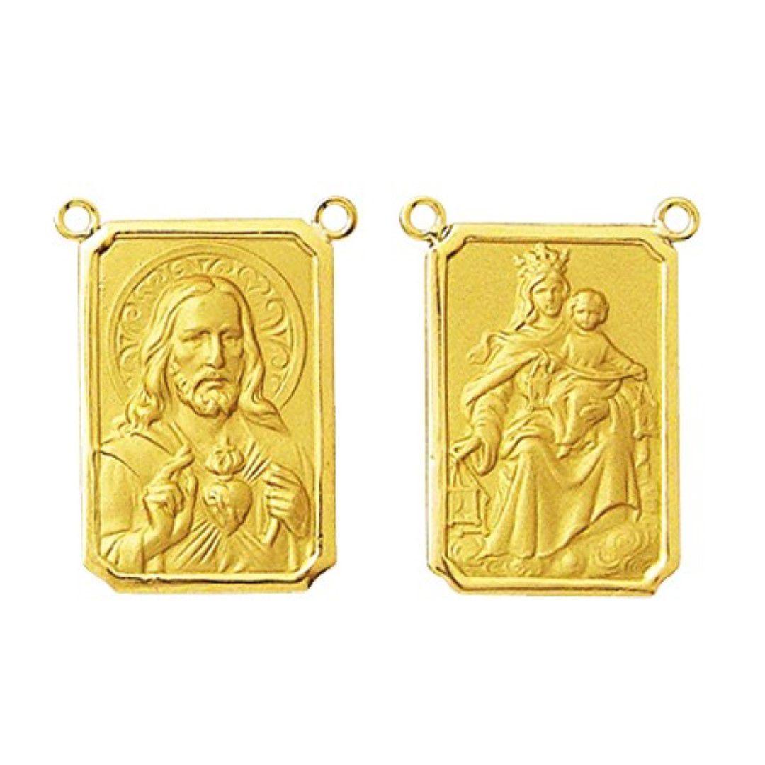 2 Medalhas Pingente Mini Escapulario Classico 0.9 Cm Ouro 18k Dupla Face K1