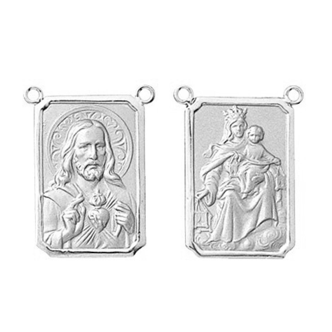 2 Medalhas Pingente Pequena Escapulario Classico 1.1 Cm Ouro 18k Dupla Face K150