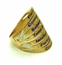 Anel Ouro 18k Piedade Sabedoria Temor De Deus 7 Dons Espirito Santo k6
