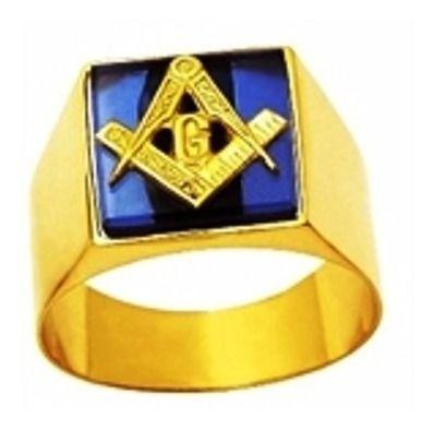 Anel Maçom Quadrado com Pedra Azul Safira Ouro 18k G Triangulo Maçonaria Mestre Aprendiz k7