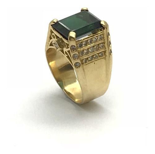 Anel Ouro 18k Pedra Turmalina Verde E 42 Brilhantes Diamantes Naturais