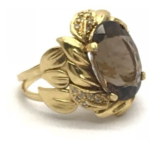 Anel Ouro 18k Pedra Topazio Fume e 18 Brilhantes Diamantes Natural