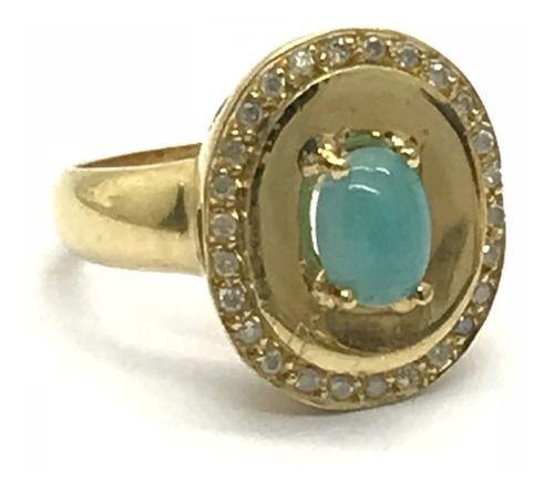 nel Ouro 18k Pedra Agua Marinha Azul E 26 Brilhantes Diamantes Naturais Feminino