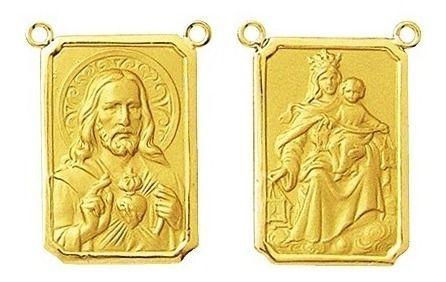 2 Medalhas Pingente Pequena Escapulario Classico 0.9 Cm Ouro 18k Dupla Face K150