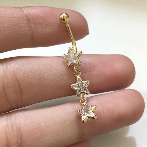 Piercing Umbigo 3 Estrela Pedras Branca Ouro 18k Co222K170