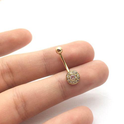 Piercing Umbigo Redondo Todo Com Pedra Branca Ouro 18k Co255K082