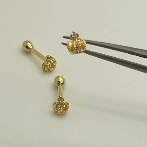 Piercing Ouro 18k Coroa Orelha Cartilagem Tragus Helix CO51K051