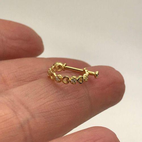 Piercing Conch Ouro 18k Coraçoes Infinito Com Pedras Orelha 01K168
