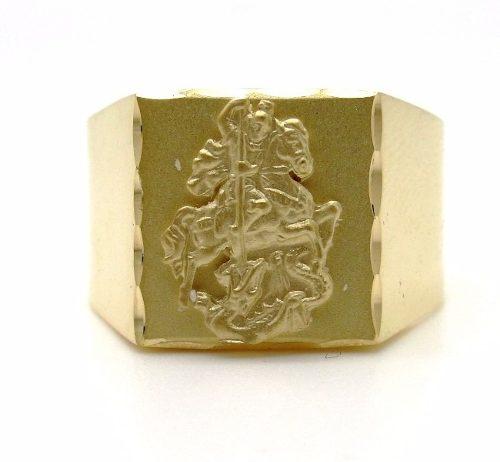 Anel Quadrado em Ouro 18k 750 Amarelo Sao Jorge Guerreiro - FAF33SJ-K7