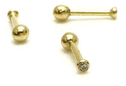 Ouro Amarelo 18k Piercing Ponto De Luz Pedra Branca Cartilagem Tragus Helix 6mm CO61K031