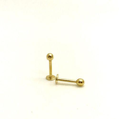 Ouro 18k Piercing Rosto Corpo Labret Bolinha e Placa Corpo 8 mm LTOK045