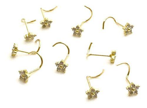 Piercing Nariz Flor Ouro 18k Pedra Branca Ponto De Luz NO67K025