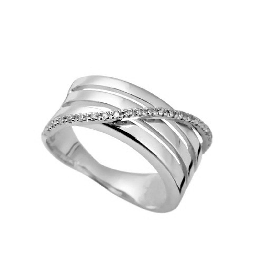 Anel 1 Linha Paralela com 22 Pedras Diamante Natural Ouro 18k F JM k2160