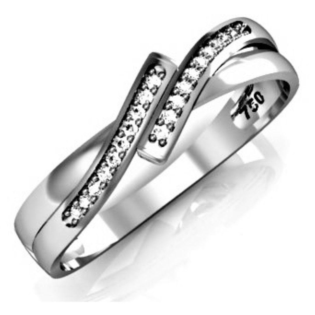 Anel 2 Linha Paralelas com 20 Pedras Diamante Natural Ouro 18k F JM k15