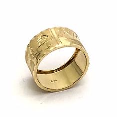 Anel Aliança Ouro 18k Escrava Egito Trabalhado com 1cm k330