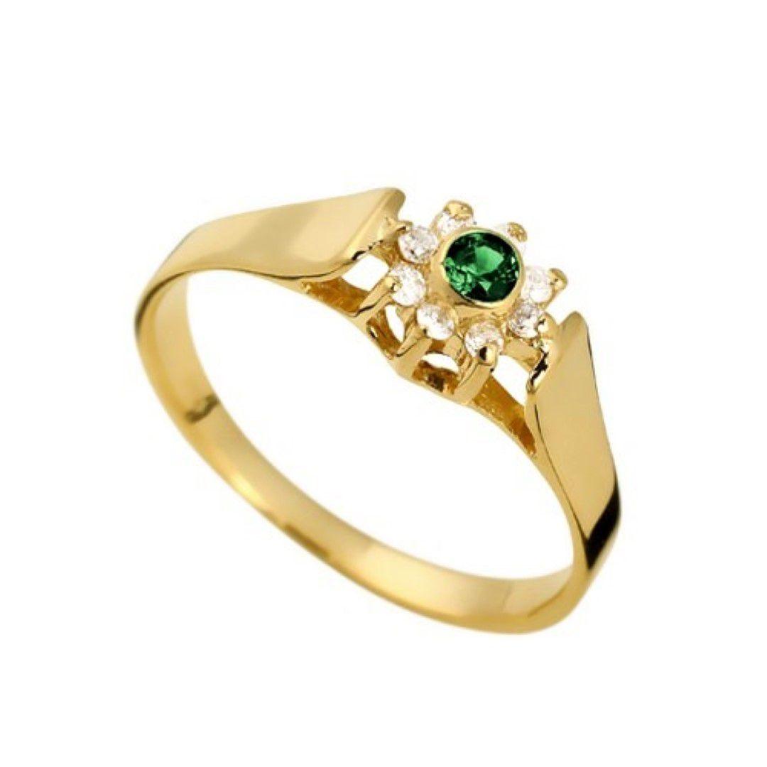 Anel Esmeralda Formatura Feminino Ouro 18k e Diamante Natural FJM1373-2