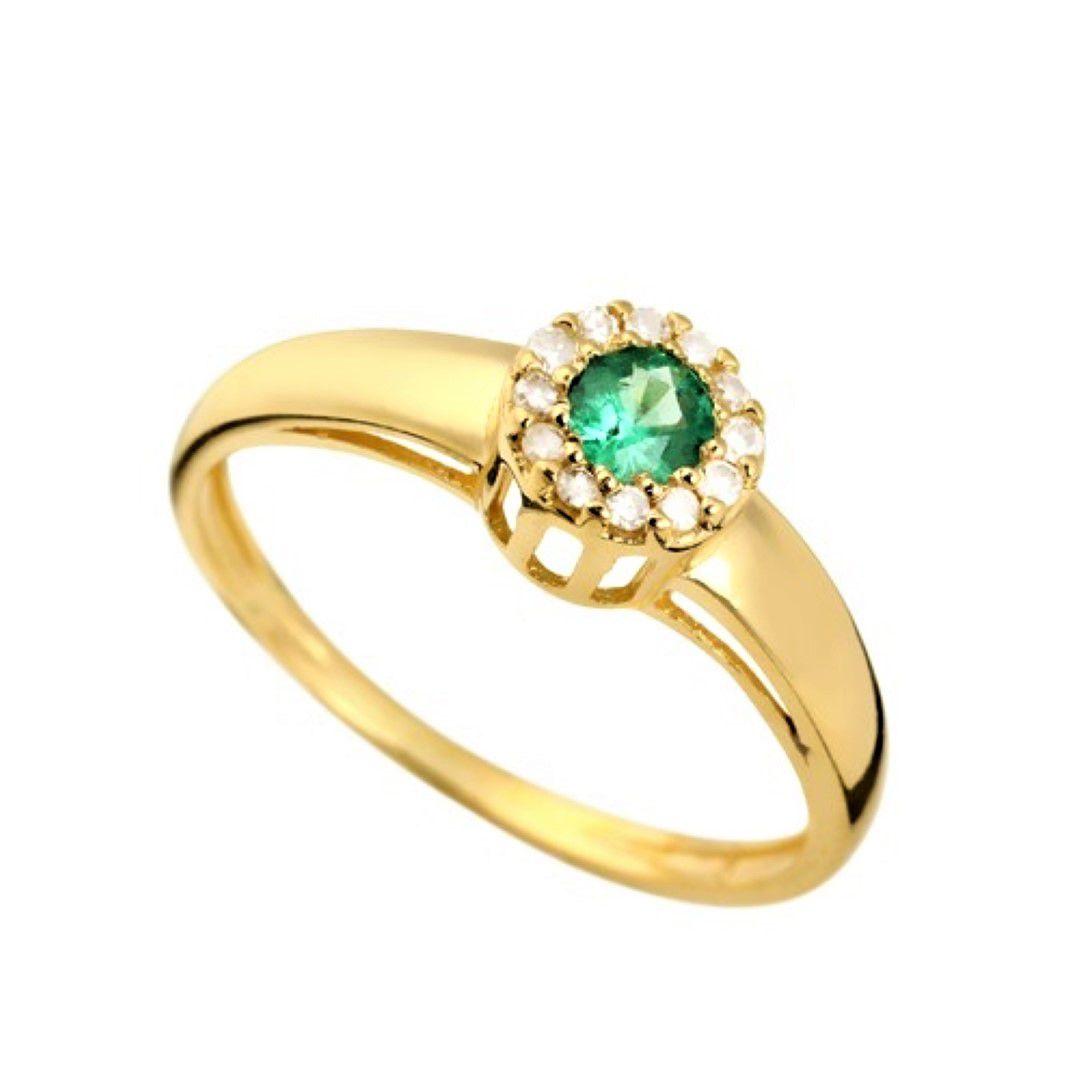 Anel Esmeralda Formatura Feminino Ouro 18k e Diamante Natural FJM1630
