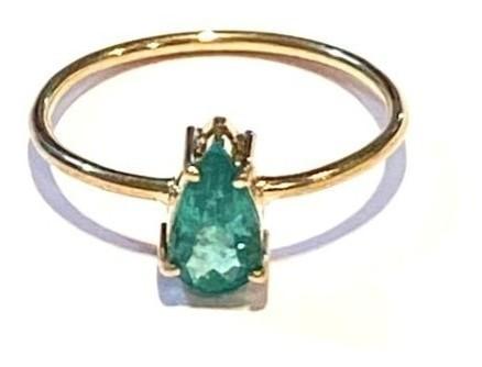 Anel Esmeralda Gota Geometrico Natural Pedra Verde 7x5mm Feminino Ouro 18k E03CTK240