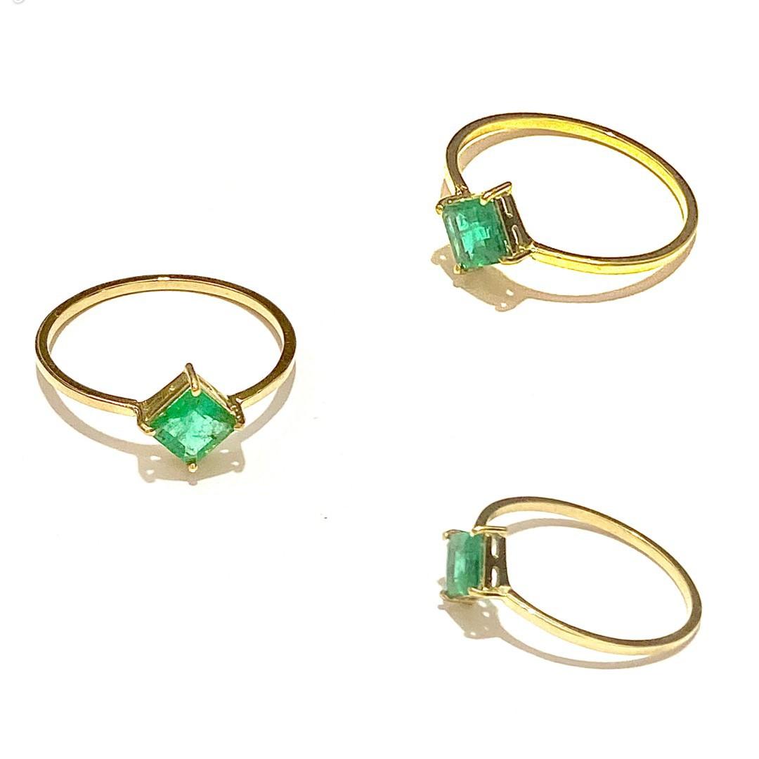 Anel Esmeralda Losango Geometrico Natural Pedra Verde 0.8X0.8cm Feminino Ouro 18k E01K240