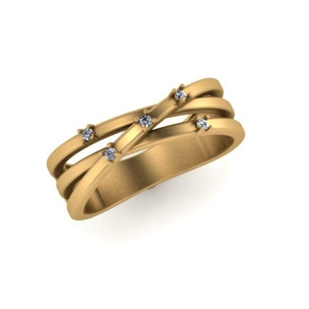Anel Linha Paralelas com 5 Pedras Diamante Natural Ouro 18k F JM k11