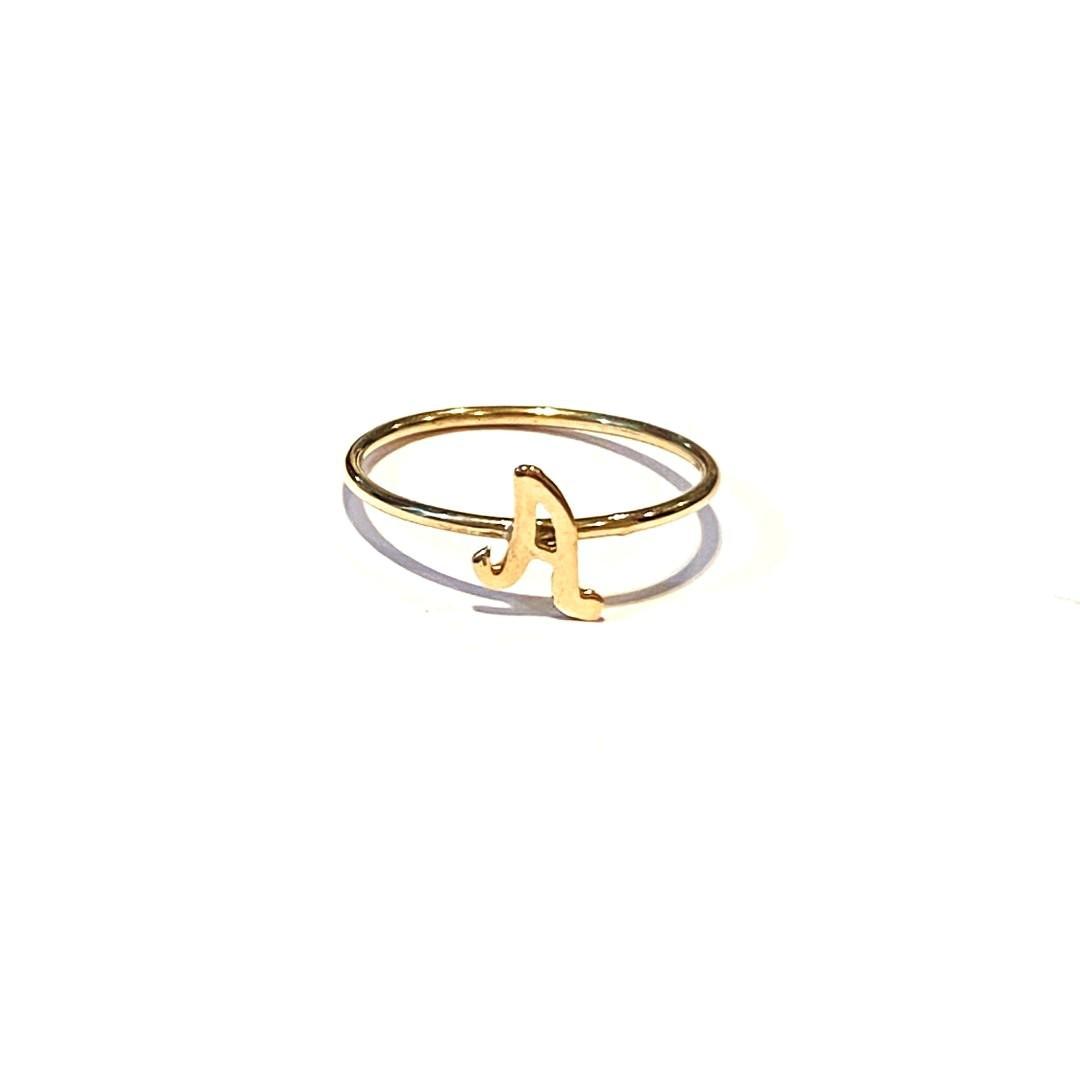 Anel Ouro 18k Com Letra G H I J K L  Skinny K090