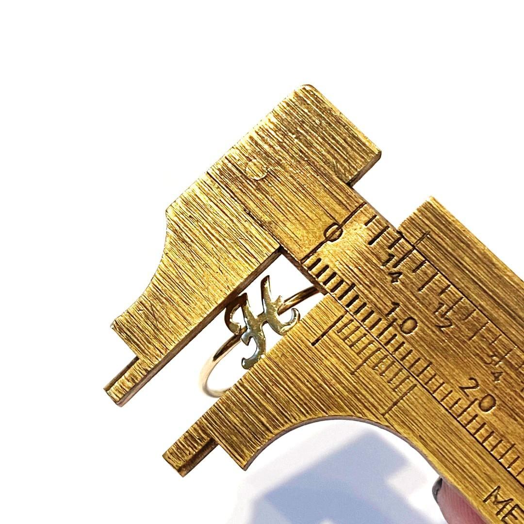Anel Ouro 18k Com Letra M N O P Q R  Skinny K090