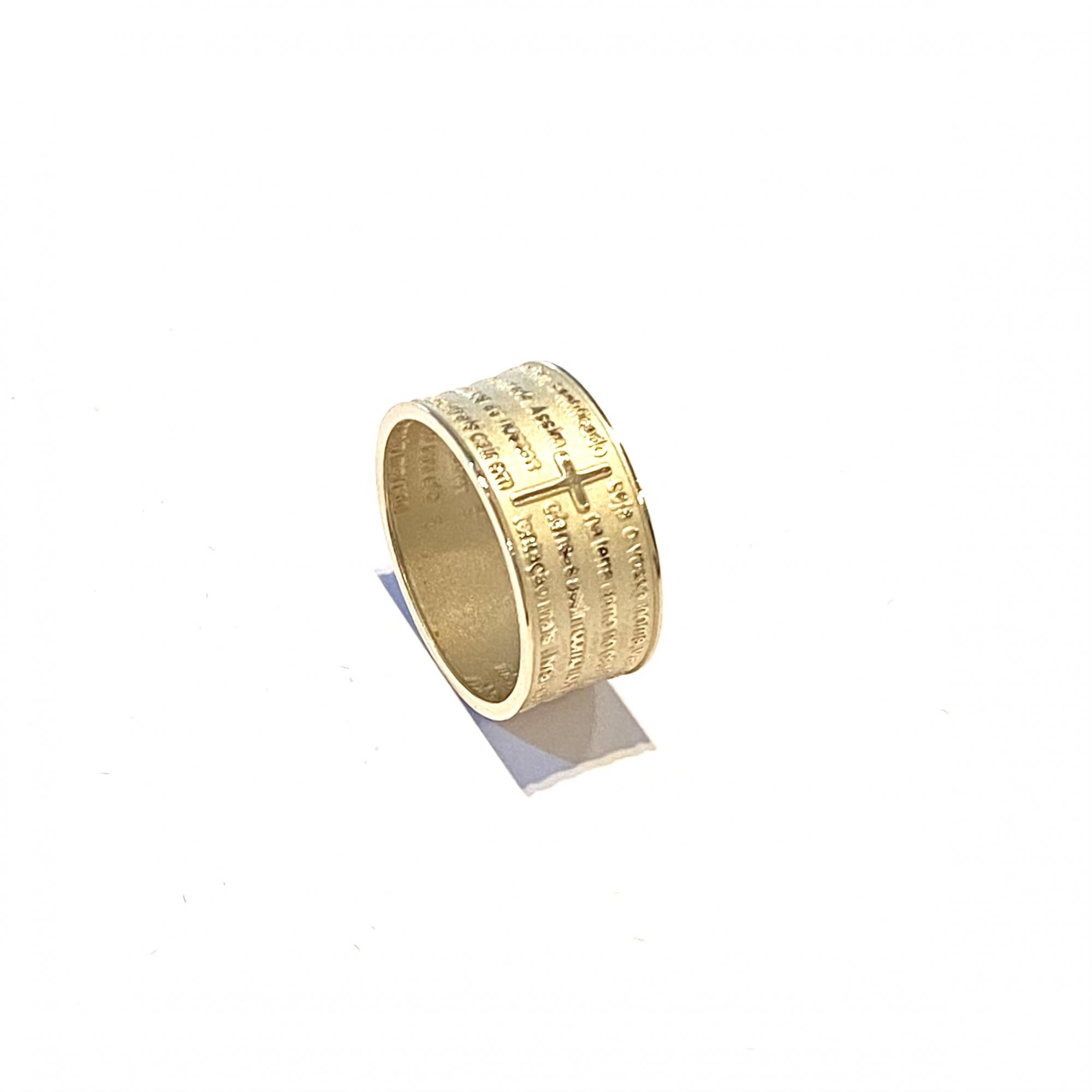 Anel Ouro 18k Reza Frase Pai Nosso Religioso k350