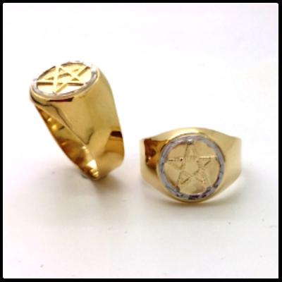 Anel Pentagrama Elo Branco em Ouro 18k Teor 750 Redondo Grande K650