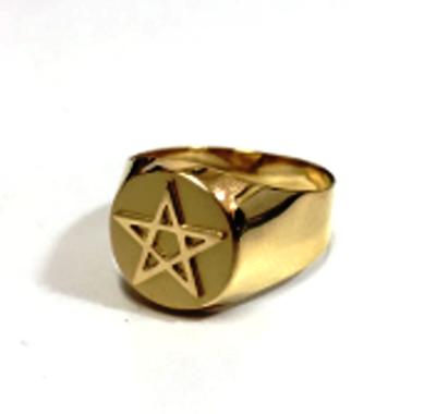 Anel Pentagrama Estrela de Cinco Pontas Ouro 18k Teor 750 Redondo Grande K6.5