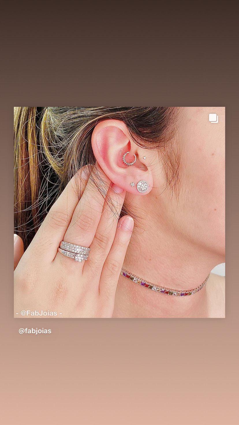 Anel Princesa e Meia Aliança Ouro Branco 18k Cravejado com Diamante Brilhante Natural