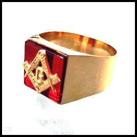 Anel Maçom Quadrado com Pedra Preta Rubi Ouro 18k G Triangulo Maçonaria Mestre Aprendiz FDAF-33 Rubi K7