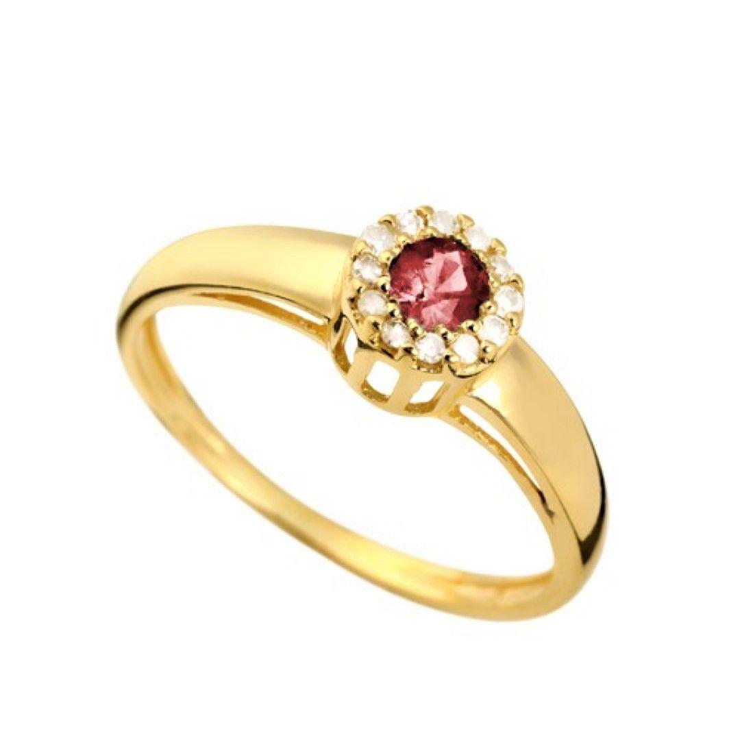 Anel Rubi Formatura Feminino Ouro 18k e Diamante Natural FJM1630