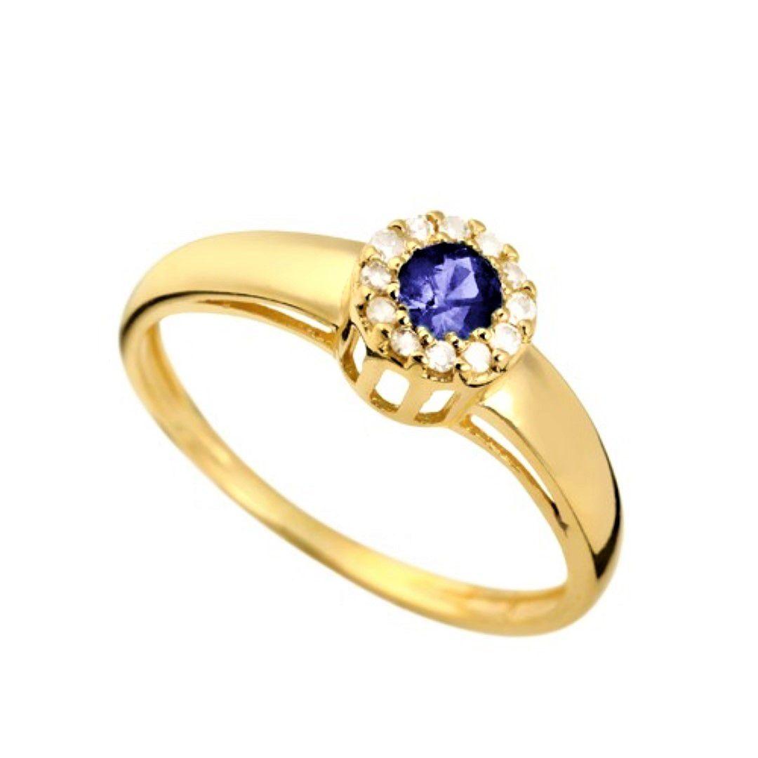 Anel Safira Formatura Feminino Ouro 18k e Diamante Natural FJM1630-4